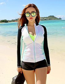 Sexy White+black Color Matching Design Casual Swimsuit(3pcs)