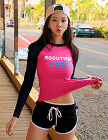 Sexy Navy+plum Red Letter Pattern Design Long Sleeves Swimsuit