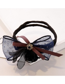 Sweet Dark Blue Flowers&diamond Decorated Hair Band