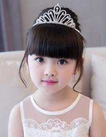Sweet White Pure Color Design Crown Shape Child Hair Hoop