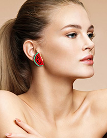Elegant Red+green Color Matching Design Watermelon Shape Earrings