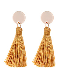 Elegant Yellow Tassel Decorated Long Earrings