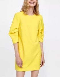 Fashion Yellow Pure Color Design Long Sleeves Dress