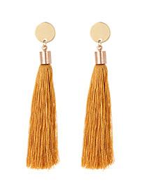 Fashion Brown Tassel Decorated Long Earrings