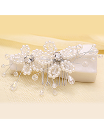 Elegant Silver Color Flowers Shape Design Pure Color Hair Comb