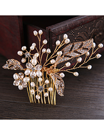 Elegant Gold Color Leaf&pearls Decorated Hair Comb