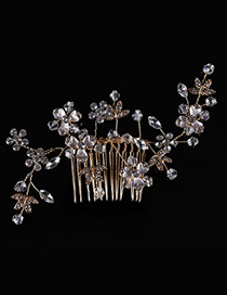 Elegant Gold Color Full Diamond Design Flower Shape Hair Comb