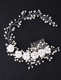Elegant Silver Color Flowers&pearls Decorated Hair Comb