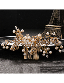 Elegant Gold Color Leaf&diamond Decorated Hair Comb