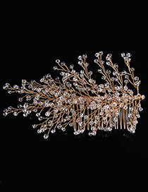 Elegant Gold Color Full Beads Decorated Simple Hair Comb