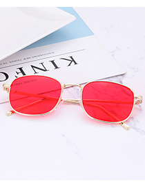 Fashion Red Square Shape Design Pure Color Glasses
