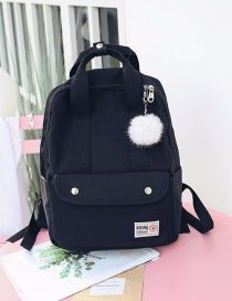 Fashion Black Fuzzy Ball Decorated Pure Color Backpack