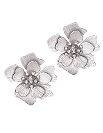 Elegant Silver Color Flower Shape Design Pure Color Earrings
