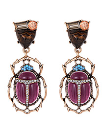 Elegant Antique Bronze+purple Gemstone Decorated Insect Shape Earrings