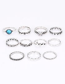 Fashion Silver Color Diamond Decorated Rings (11pcs)