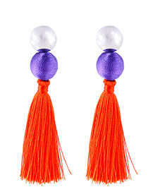 Fashion Orange Round Shape Decorated Tassel Earrings