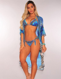 Sexy Blue Leopard Pattern Decorated Swimwear(3pcs)