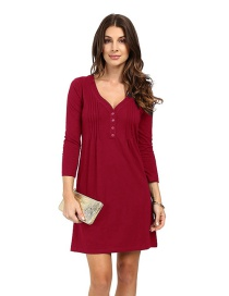 Fashion Claret Red V Neckline Design Pure Color Dress
