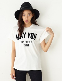 Fashion White Letter Pattern Decorated Simple T-shirt