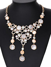 Fashion Beige Full Diamond Decorated Necklace