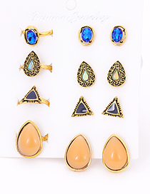Fashion Gold Color Water Drop Shape Decorated Earrings&Rings (12 Pcs )