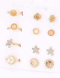 Fashion Gold Color Flower&star Shape Decorated Earrings&Rings (12 Pcs )