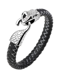 Fashion Black+white Snake Shape Decorated Bracelet