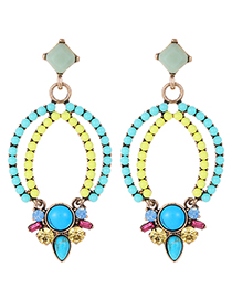 Fashion Blue+yellow Bead Decorated Hollow Out Earrings