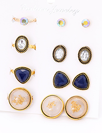 Fashion Blue Round Shape Decorated Earrings&rings Set (12 Pcs )