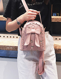 Simple Pink Bowknot Shape Decorated Shoulder Bag