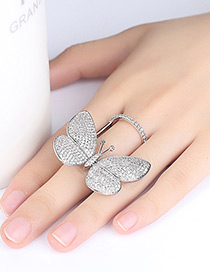 Fashion Silver Color Butterfly Shape Decorated Ring