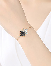 Simple Gold Color+black Jigsaw Shape Decorated Bracelet
