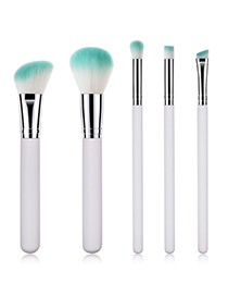 Fashion Silver Color Oblique Shape Decorated Makeup Brush (5 Pcs )