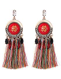Fashion Multi-color Tassel Decorated Earrings