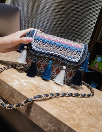 Fashion Blue Tassel Decorated Shoulder Bag