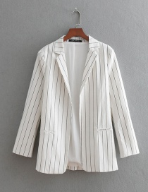 Fashion White Stripe Pattern Decorated Simple Coat