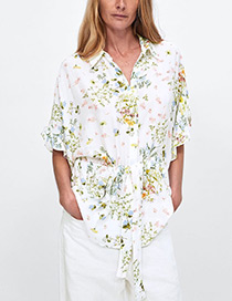 Fashion White Flowers Pattern Decorated Simple Shirt