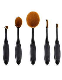 Fashion Black Oval Shape Design Cosmetic Brush(5pcs)