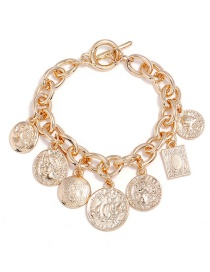 Elegant Gold Color Coins Decorated Pure Color Bracelet