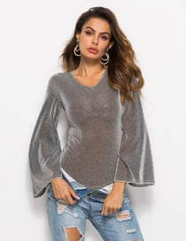 Sexy Silver Color Long Sleeves Design Pure Color Jumpsuit