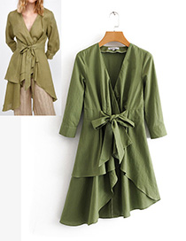 Fashion Olive Green Bowknot Shape Decorated Pure Color Shirt