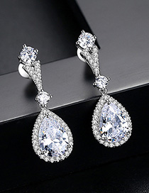 Fashion Silver Color Water Drop Shape Decorated Earrings