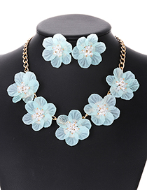 Elegant Light Green Beads&flower Decorated Pure Color Jewelry Sets