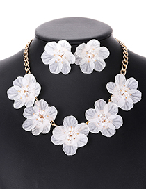 Elegant White Beads&flower Decorated Pure Color Jewelry Sets