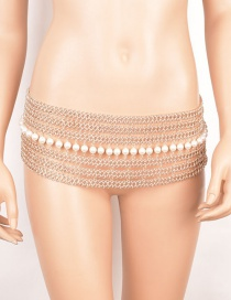 Elegant Gold Color Pearls Decorated Multi-layer Body Chain