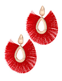 Elegant Red Water Drop Shape Design Tassel Earrings