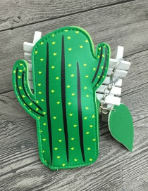 Lovely Green Cactus Shape Design Simple Wallet