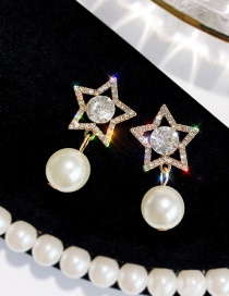 Elegant Gold Color Pearls&star Decorated Simple Earrings
