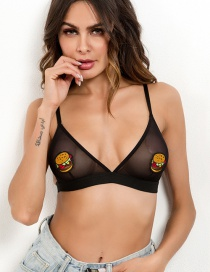 Sexy Black Embroidered Eyes Design Pure Color Underwear