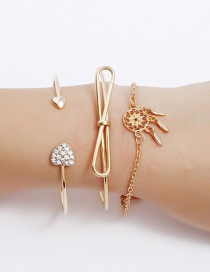 Fashion Gold Color Windbell&bowknot Decorated Bracelet(3pcs)